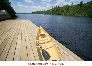 Yellow canoe sitting on wooden dock on a summer day. In the canoe there are two paddles.