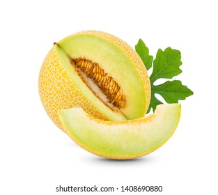 yellow cantaloupe melon with leaf  isolated on white background. full depth of field
