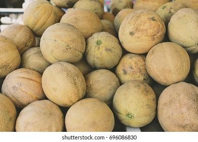 Yellow Cantaloupes at Farmers Market