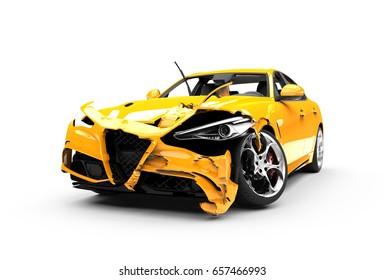 Yellow car crash on a white background isolated on a white background