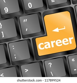 yellow career button on the keyboard - business concept, raster