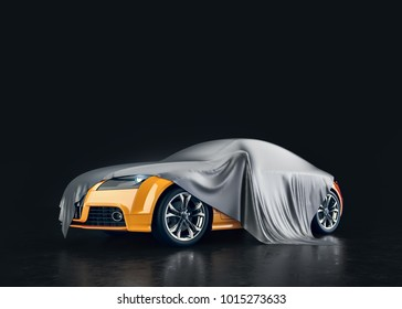 Yellow cars that are covered in fabric. 3d render and illustration.