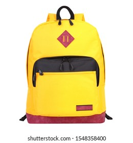 Yellow Casual Backpack Isolated on White Background. Modern Canvas School Backpack. Front View of Travel Daypack with Zippered Compartment. Satchel Rucksack. Bag with Shoulder Straps