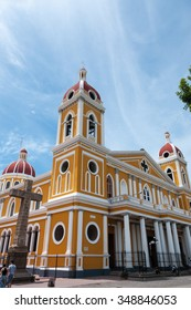 Yellow cathedral under blue sky in Granada Nicaragua Central America