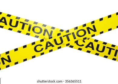 Yellow Caution Crime Scene Tape Crisscrossed Isolated on a White Background.