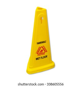 Yellow caution slippery wet floor sign labeled in English and French on white background