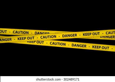 Yellow caution tape strips with text of keep out, danger and caution, on black background.