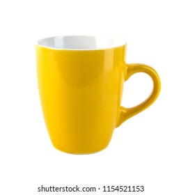Yellow ceramic cups on a white background.
