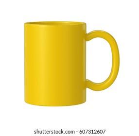 yellow ceramic mug on white background, 3D Rendering