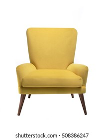 Yellow chair isolated on white background