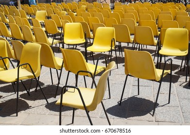 Yellow chairs parade