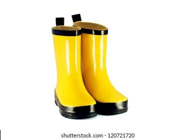 Yellow children`s boots