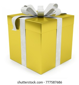 Yellow christmas gift isolated on white background 3D rendering
