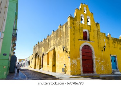 Yellow church and colonial architecture in Campeche, Mexico
