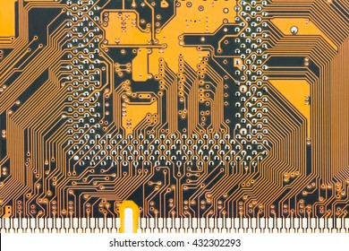 Yellow circuit board close-up photo.