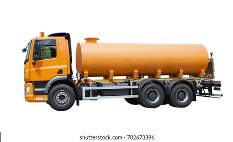 yellow cistern truck on isolated on white