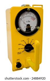 Yellow classic geiger counter isolated on white