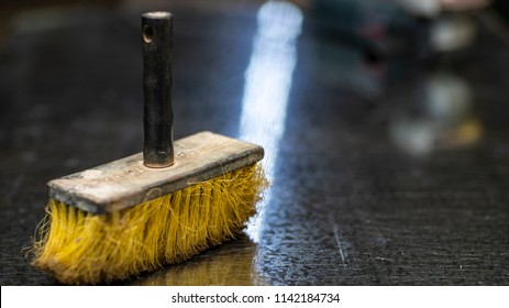 Yellow Cleaning Broom, Work Room, background blur