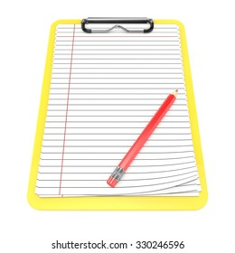 Yellow clipboard and blank lined paper. 3D render illustration isolated on white background