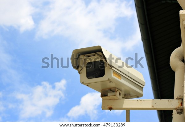 Yellow closed circuit television (CCTV, security cameras) 24 hours for security reasons.