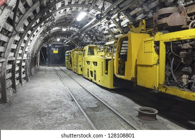Yellow coal mine transporter