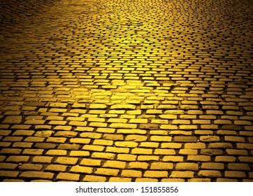 yellow cobblestone road
