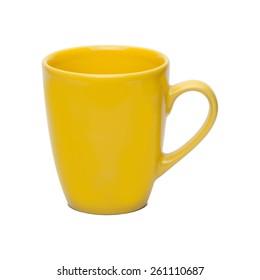 Yellow coffee cup isolated with clipping path included