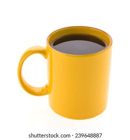 yellow coffee cup isolated on white background
