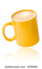 Yellow coffee cup on white