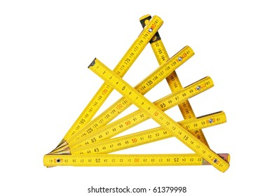 Yellow collapsible ruler of the carpenter