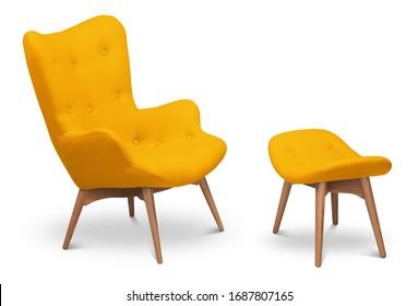 Gelbe Sessel und kleiner Sessel für Beine. Moderner Designer-Sessel auf weißem Hintergrund. Textilsessel und -stuhl. Möbelserie