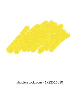Yellow color chalk on white background.