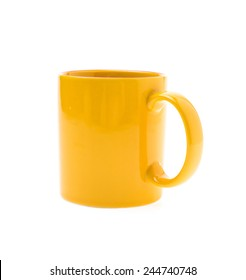 Yellow color coffee cup isolated on white background