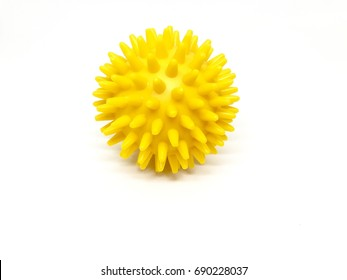 Yellow color spiky massage ball