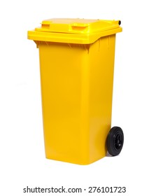 Yellow colorful recycle bin isolated on white background