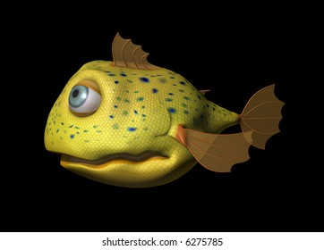 a yellow comic fish with big eyes looking friendly