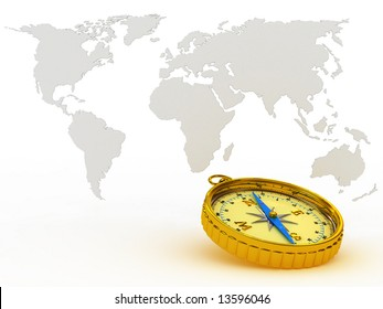Yellow compass on background of the map