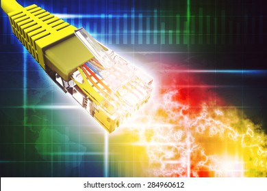 Yellow computer cable on abstract colorful background with numbers
