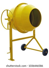 Yellow Concrete Mixer on white background