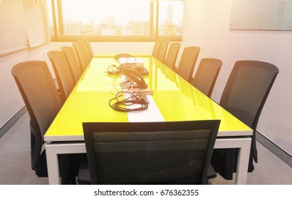 Yellow Conference  Black Chair