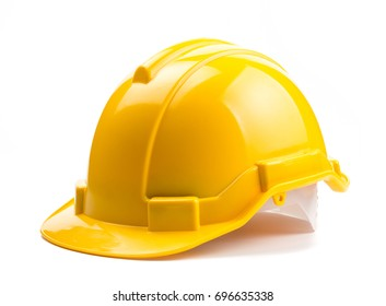 Yellow construction helmet isolated on white background