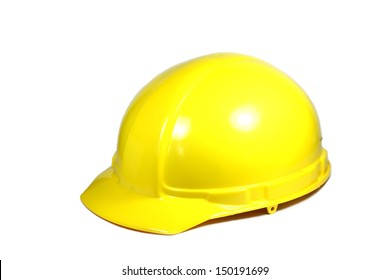 yellow construction helmet on a white background