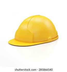 Yellow Construction Safety Helmet isolated on white background