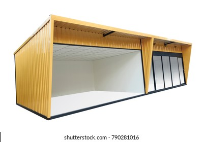 Yellow container office with door and window , isolated on white background