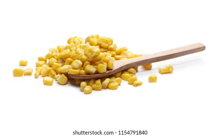 Yellow cooked corn with wooden spoon isolated on white background