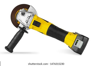 yellow cordless battery pack powered angle grinder electric hand diy construction tool machine isolated on white background