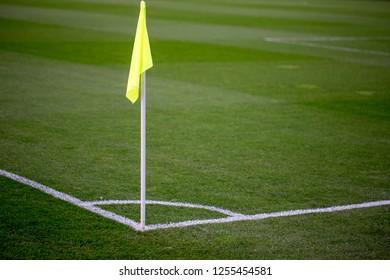 Yellow Corner Flag on a Soccer Field