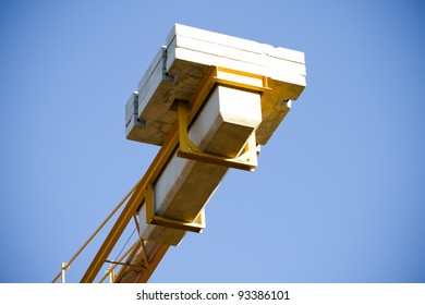Yellow Crane against Blue Sky , tower with details