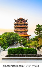 Yellow Crane Tower in the evening, the traditional Chinese multi-storey tower located on Sheshan (Snake Hill) in Wuhan, Hubei, China