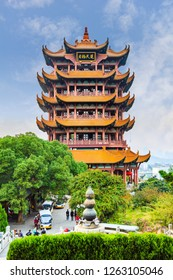"""Yellow Crane Tower, the traditional Chinese multi-storey tower located on Sheshan (Snake Hill) in Wuhan, Hubei, China,  4 Chinese letters on tower is """"Mu Ji Tian Chu"""" means """"amazing heaven"""""""